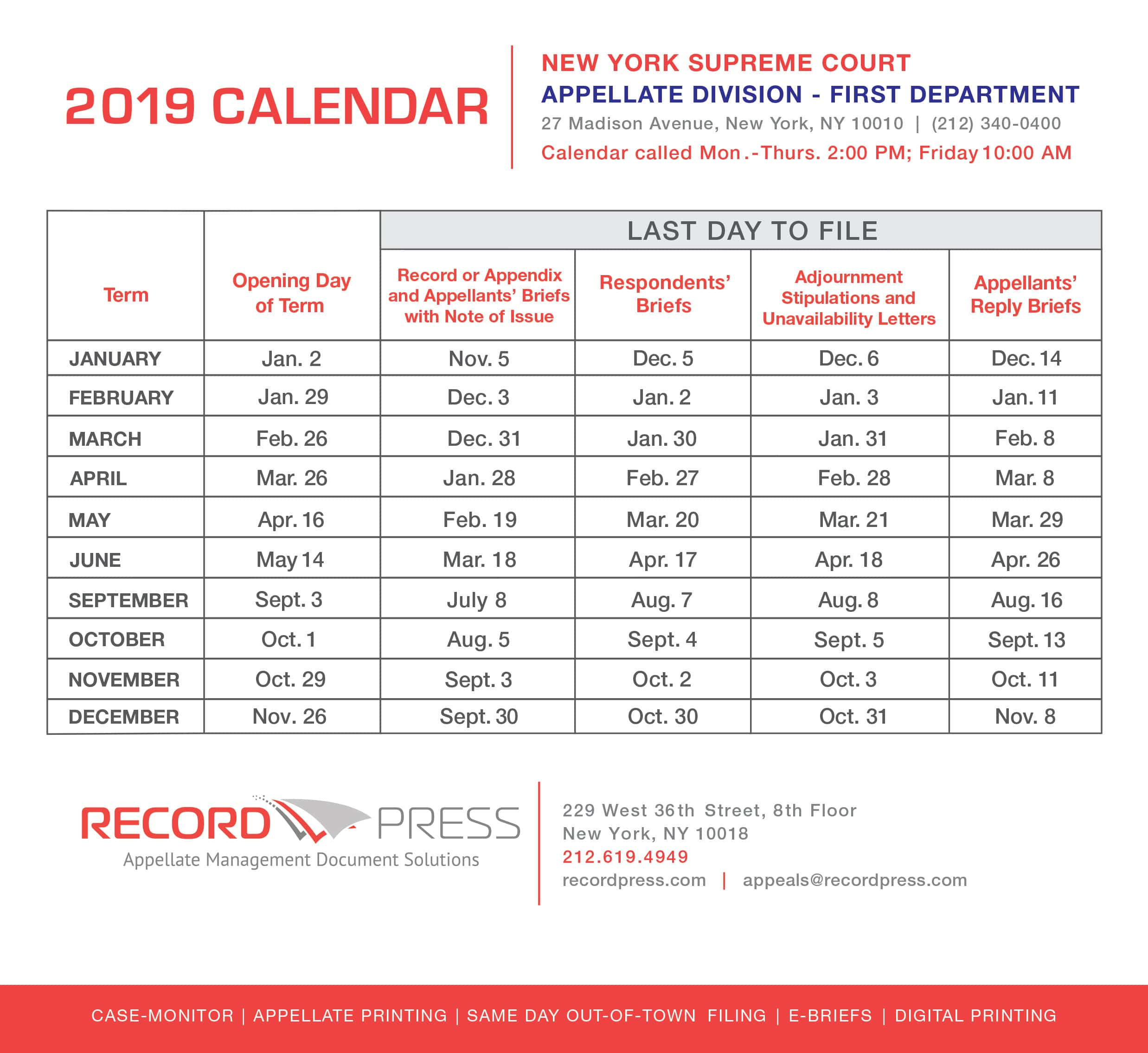 2019 AD1 Calendar